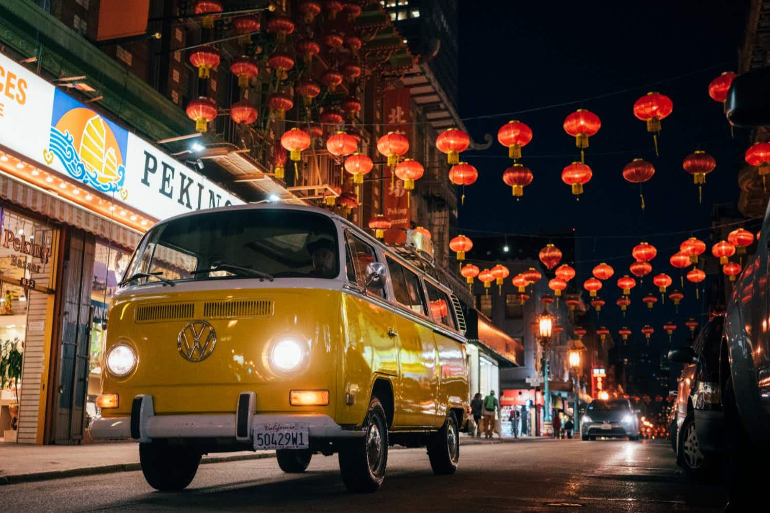 Experience San Francisco alongside a local with a night-tour in a Volkswagen camper van