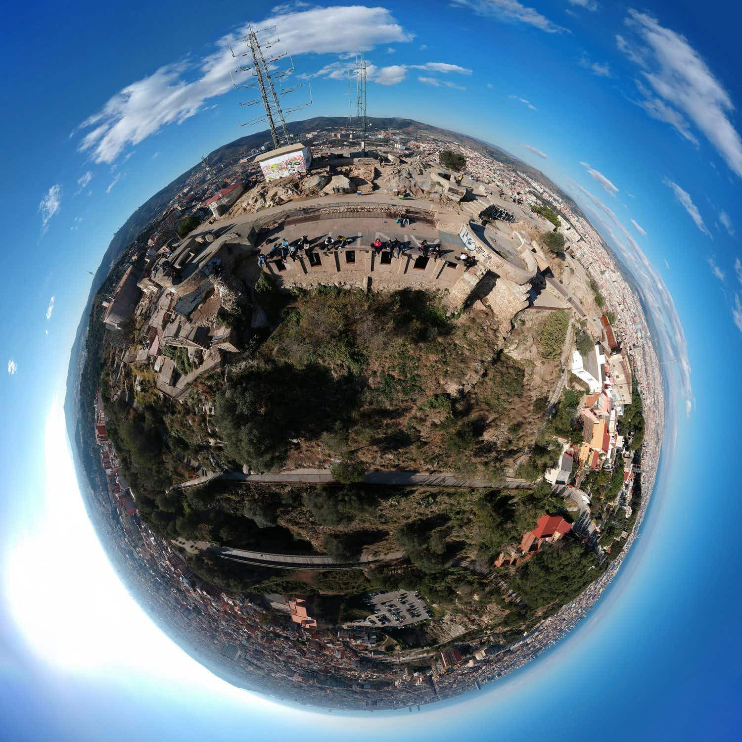 Barcelona's famous attractions appear as mini-planets in this quirky photo project