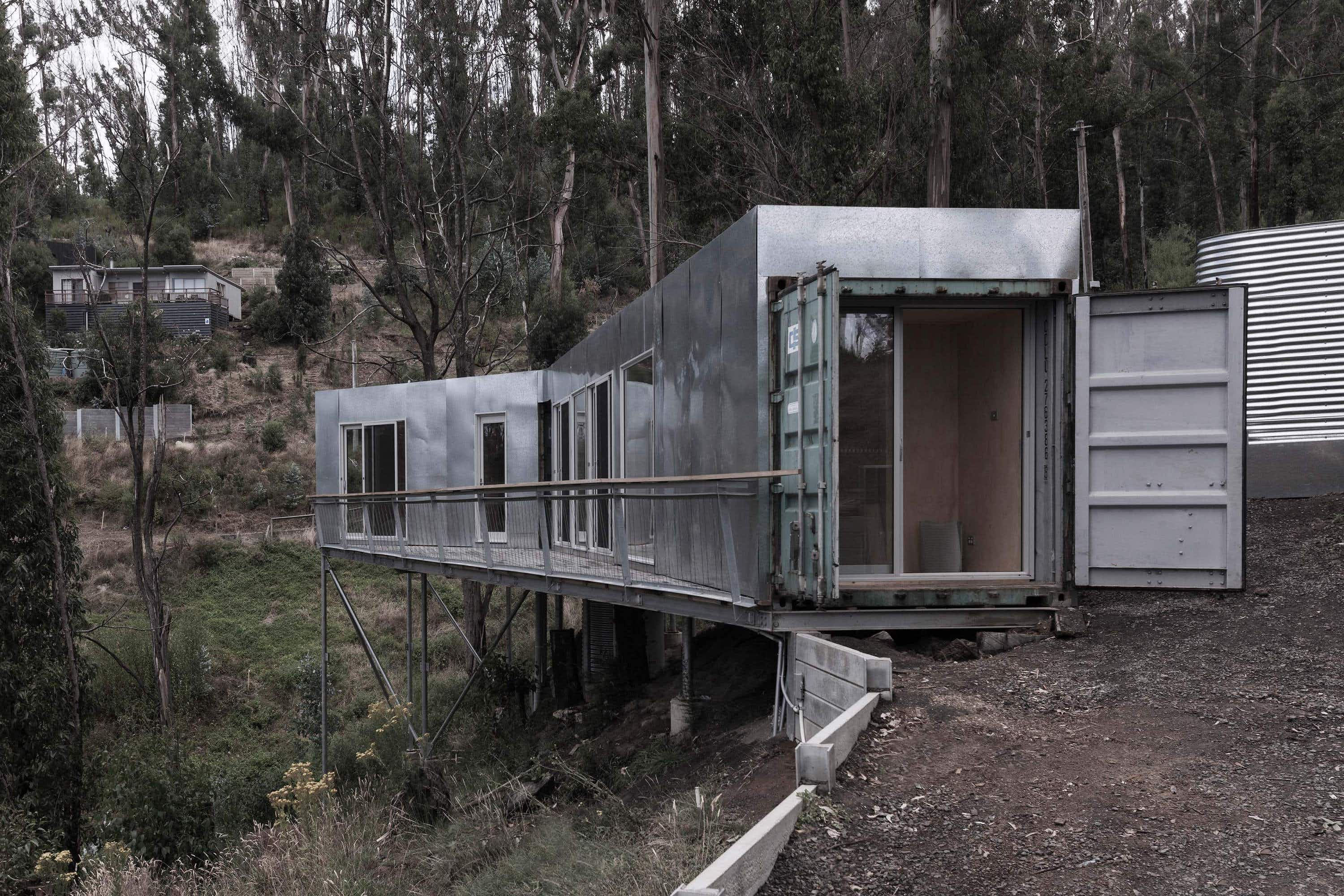 Stay in a shipping container holiday home built into a hillside in Australia