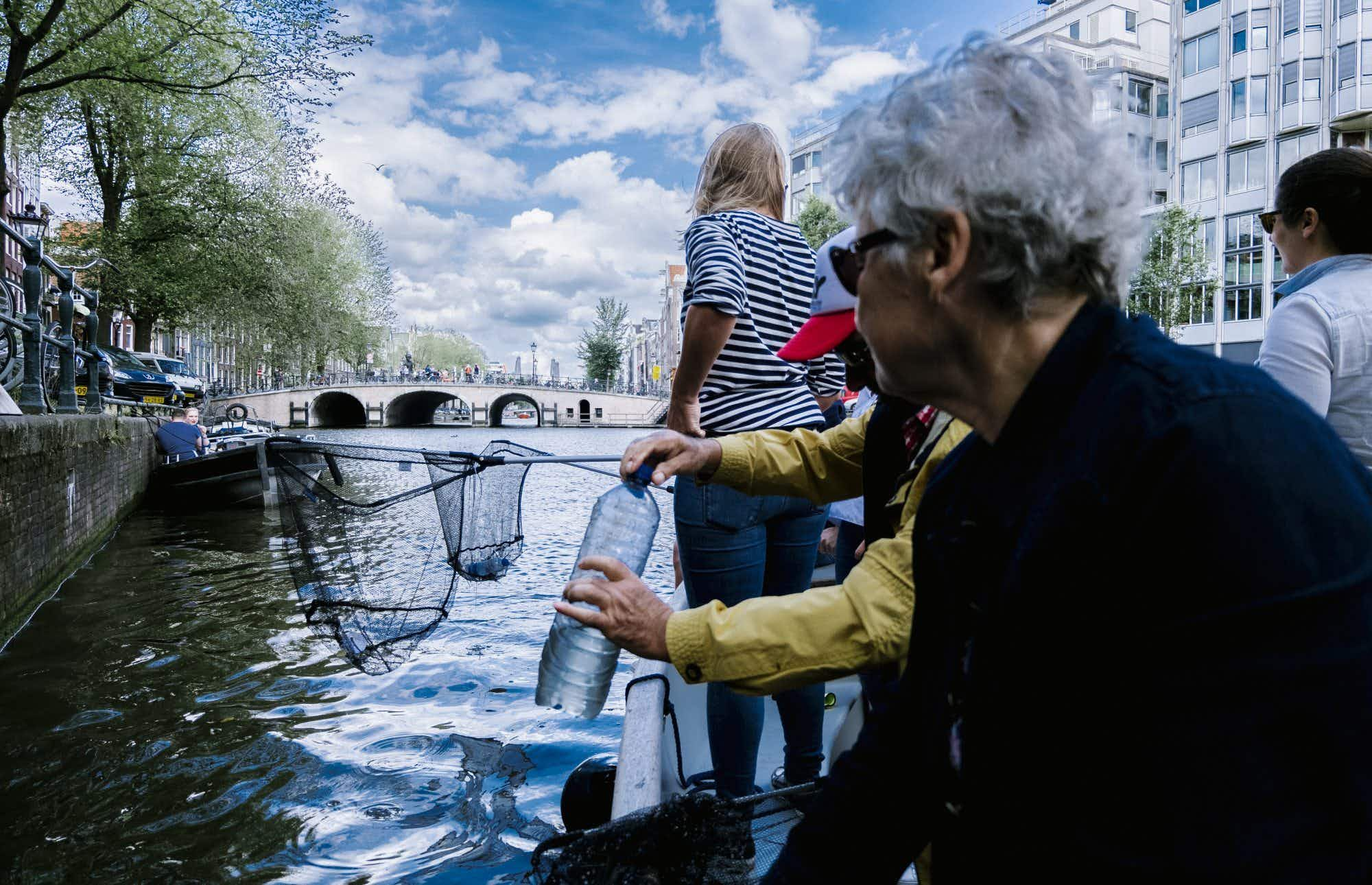 This company shows you the sights of Amsterdam while fishing for plastic