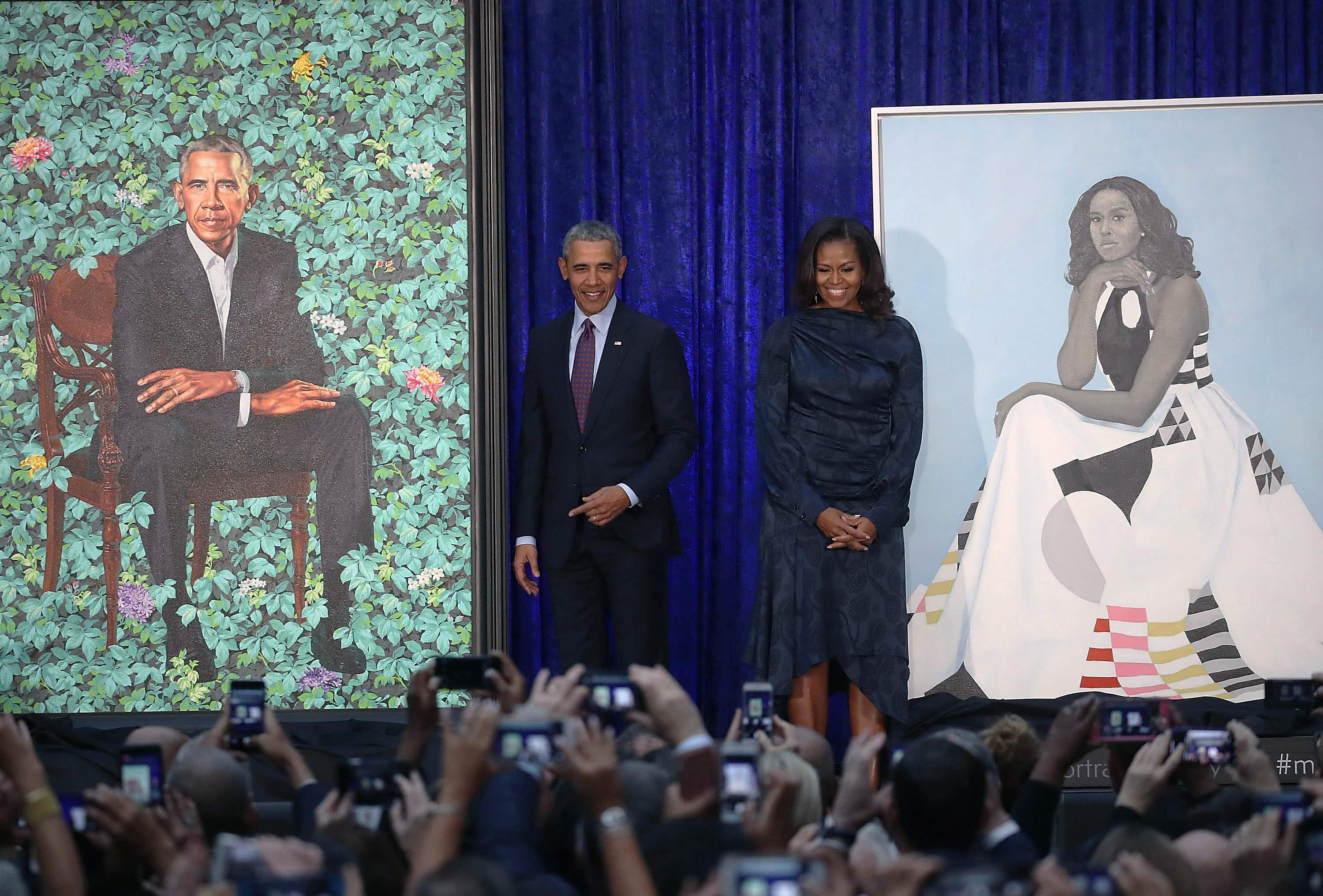 Paintings of Barack and Michelle Obama unveiled at the National Portrait Gallery