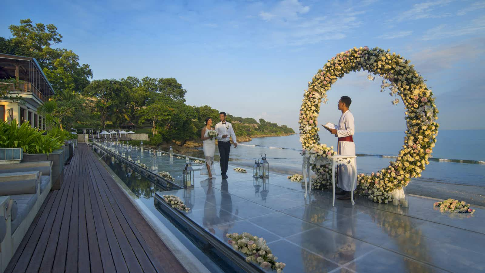 Couples can now walk down the longest floating wedding aisle on the island of Bali