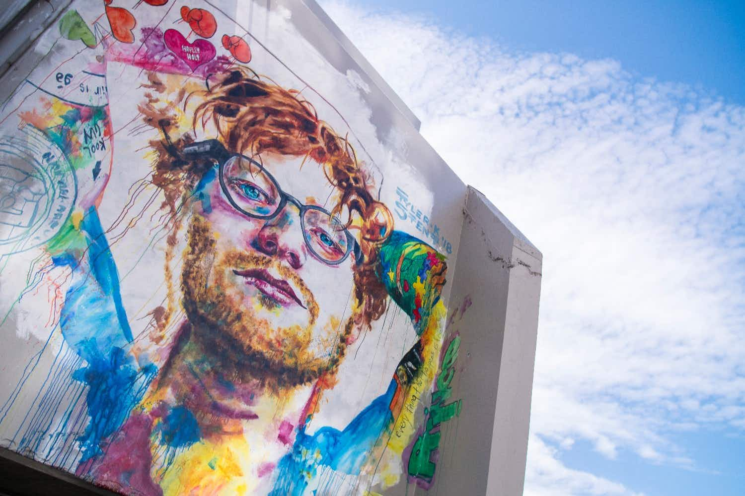 A giant street art mural of Ed Sheeran has been painted in New Zealand