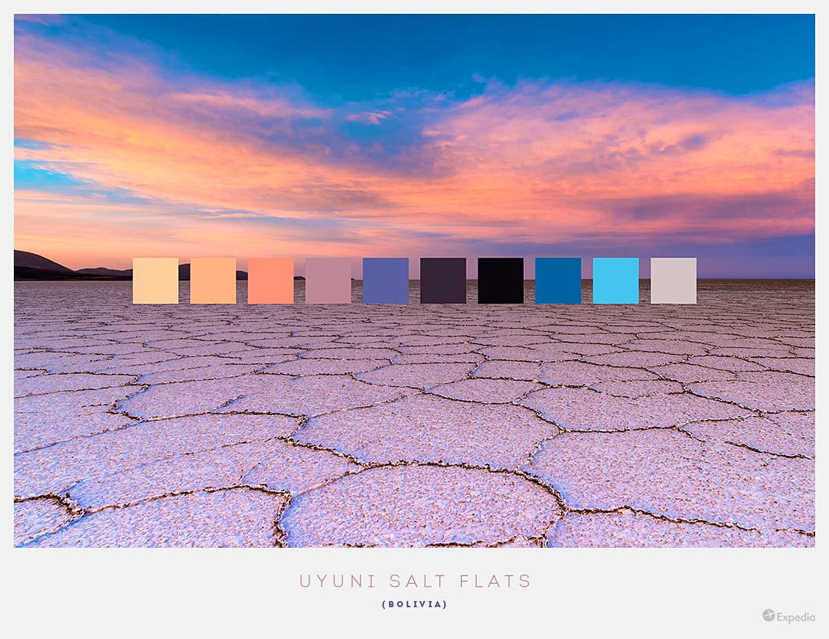 Uyuni Salt Flats, Bolivia. This iconic location offers amazing warm sunset shades, while a daytime trip offers bright, vibrant blues and whites. Image by Expedia.