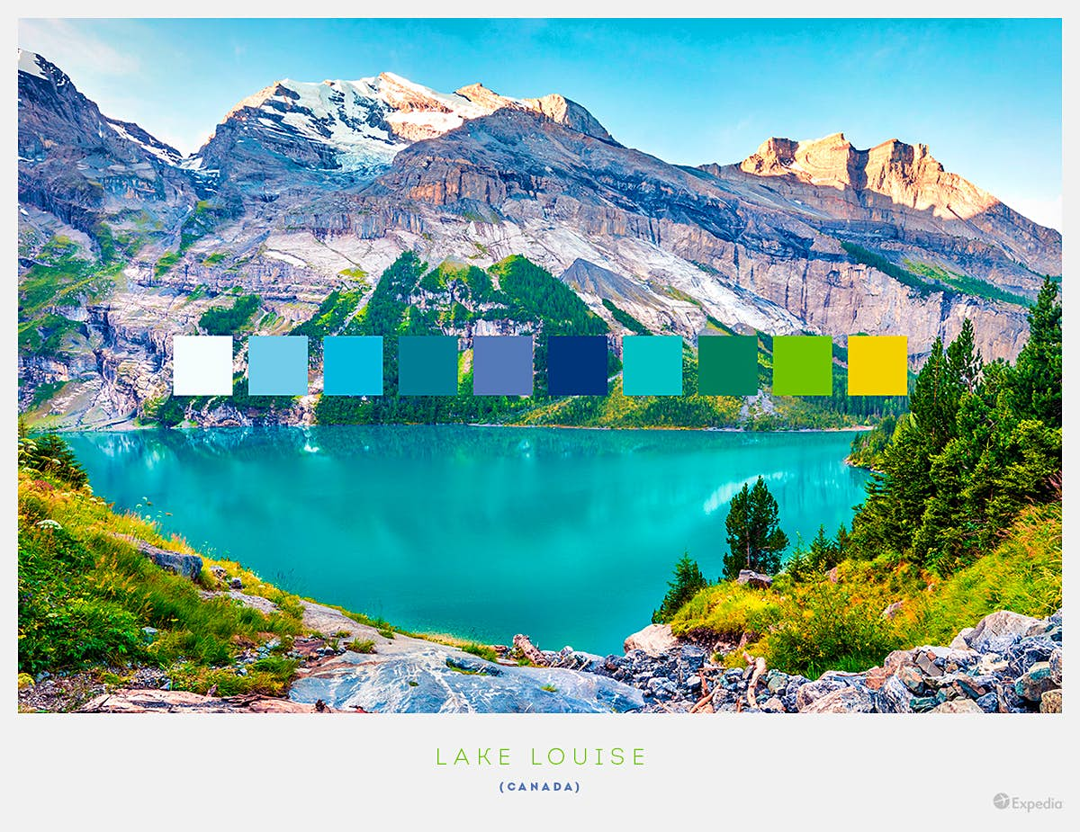 Lake Louise, Canada. The water's emerald colour is the result of rock flour that runs into it from glacial meltwater, contrasting with the snow-capped mountain slopes and green forests. Image by Expedia
