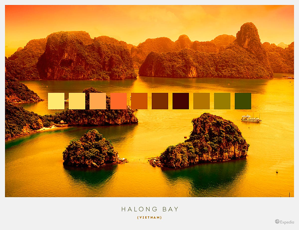 Halong Bay, Vietnam. Designated a World Heritage site in 1994, rich emerald waters contract with the greenery of forest-topped islets, with the bay being particularly beautiful at dusk. Image by Expedia