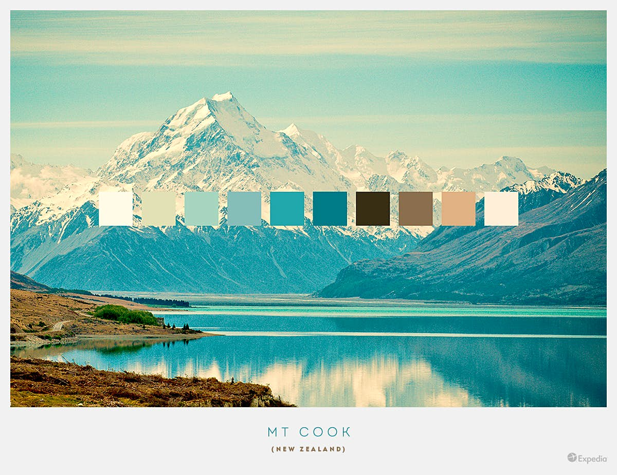 Mt Cook, New Zealand. As well as being the tallest mountain in the country, Mt Cook boasts a bountiful supply of breath-taking views, including the turquoise waters of Lake Pukaki. Image by Expedia