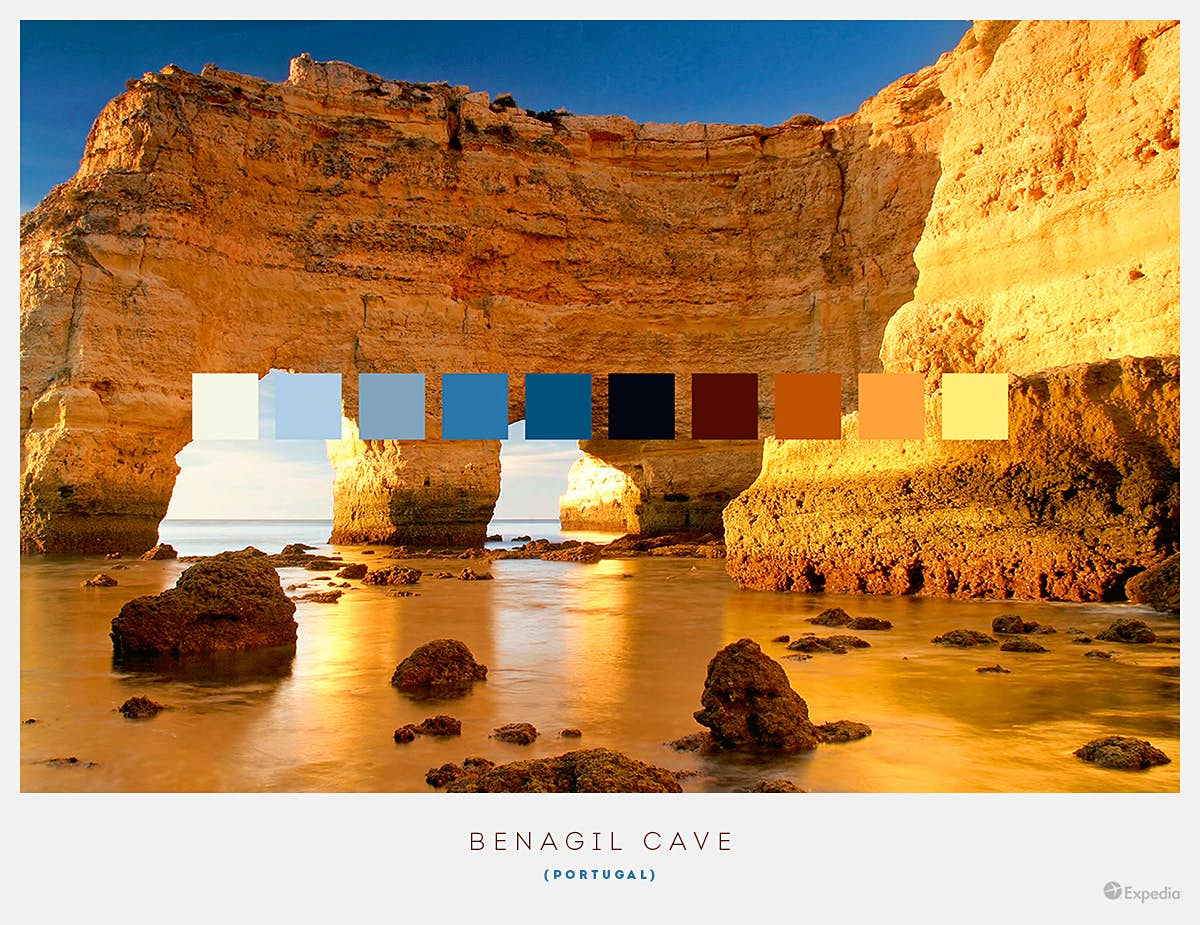 Benagil Cave, Portugal. One of Portugal's most beautiful attractions, this sea cave has blue waters and a sandy beach, as well as a natural limestone skylight pointing towards the sky. Image by Expedia