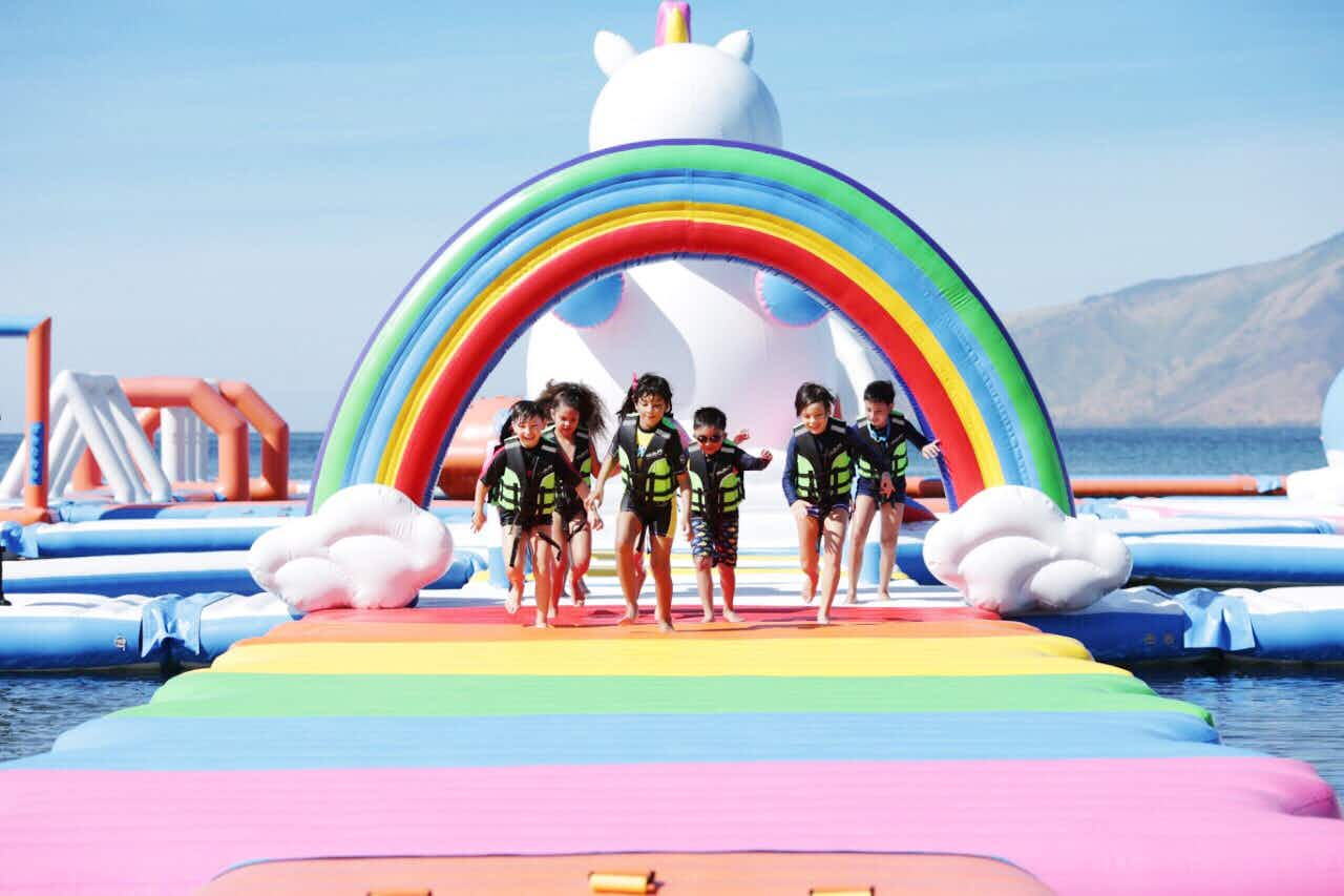 Visit this rainbow-coloured inflatable unicorn island in the Philippines
