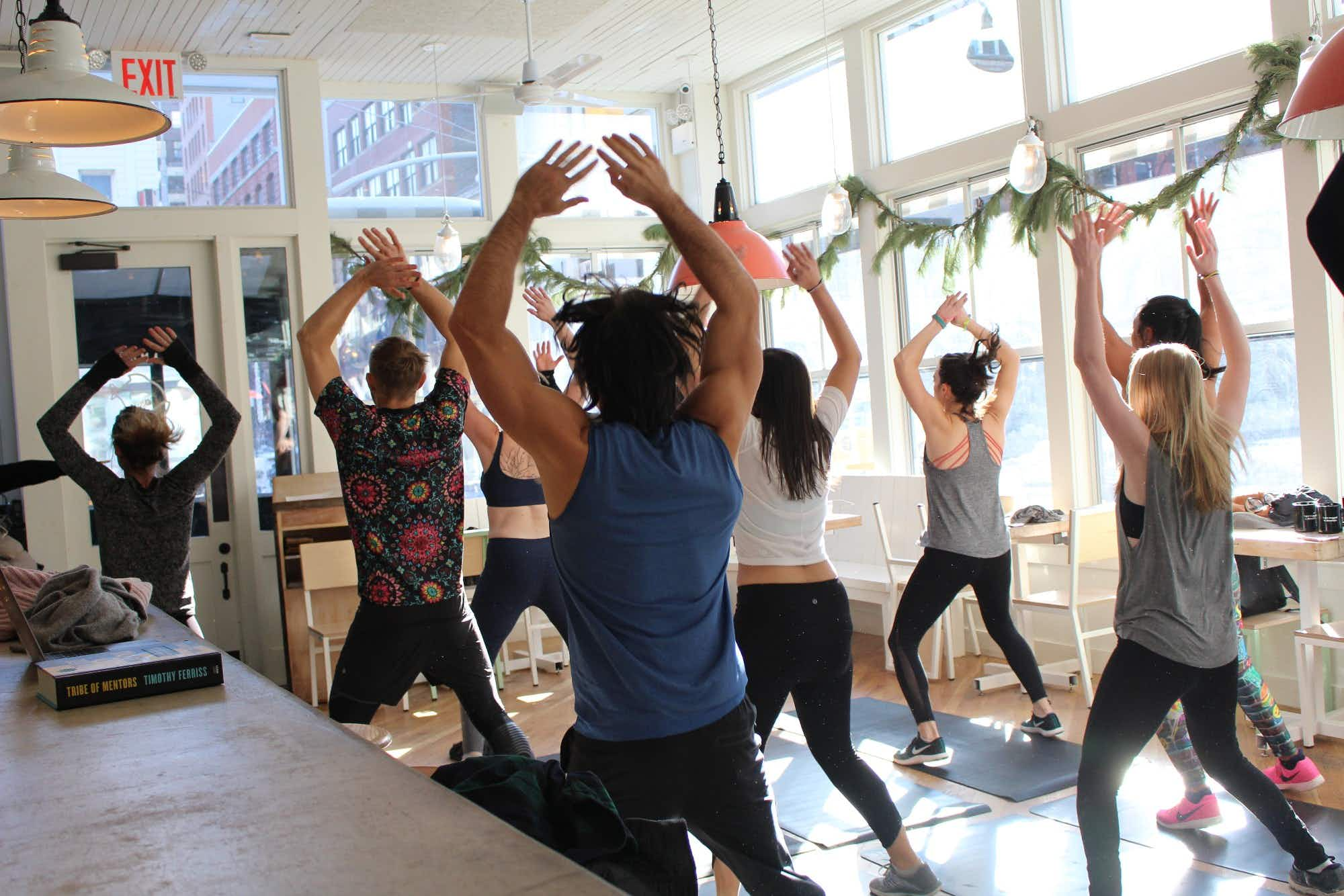 Workout while you brunch in this NYC spot -  combining burpees and Bloody Marys