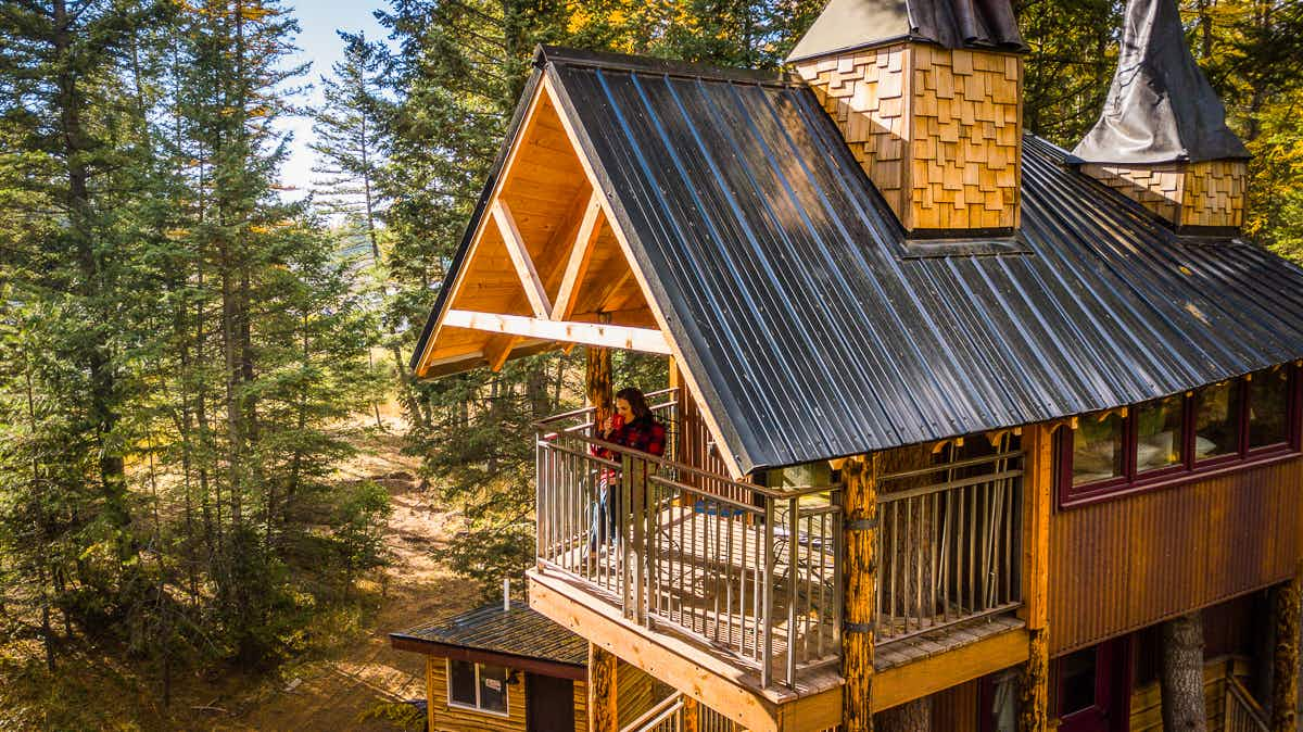 Escape into nature in this authentic Montana rustic tree house