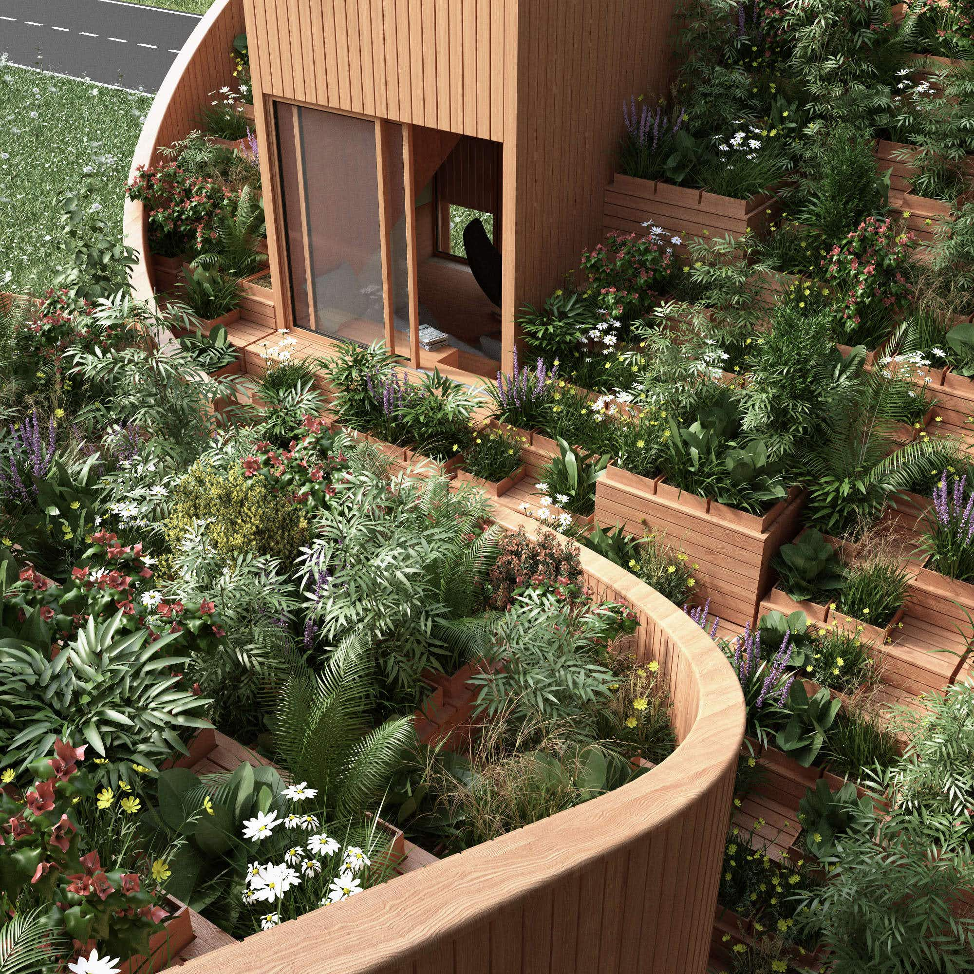 This self-sufficient home concept features a full garden on the roof