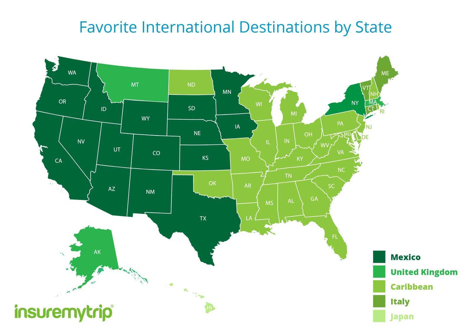 Mapped: the top international travel destinations for Americans
