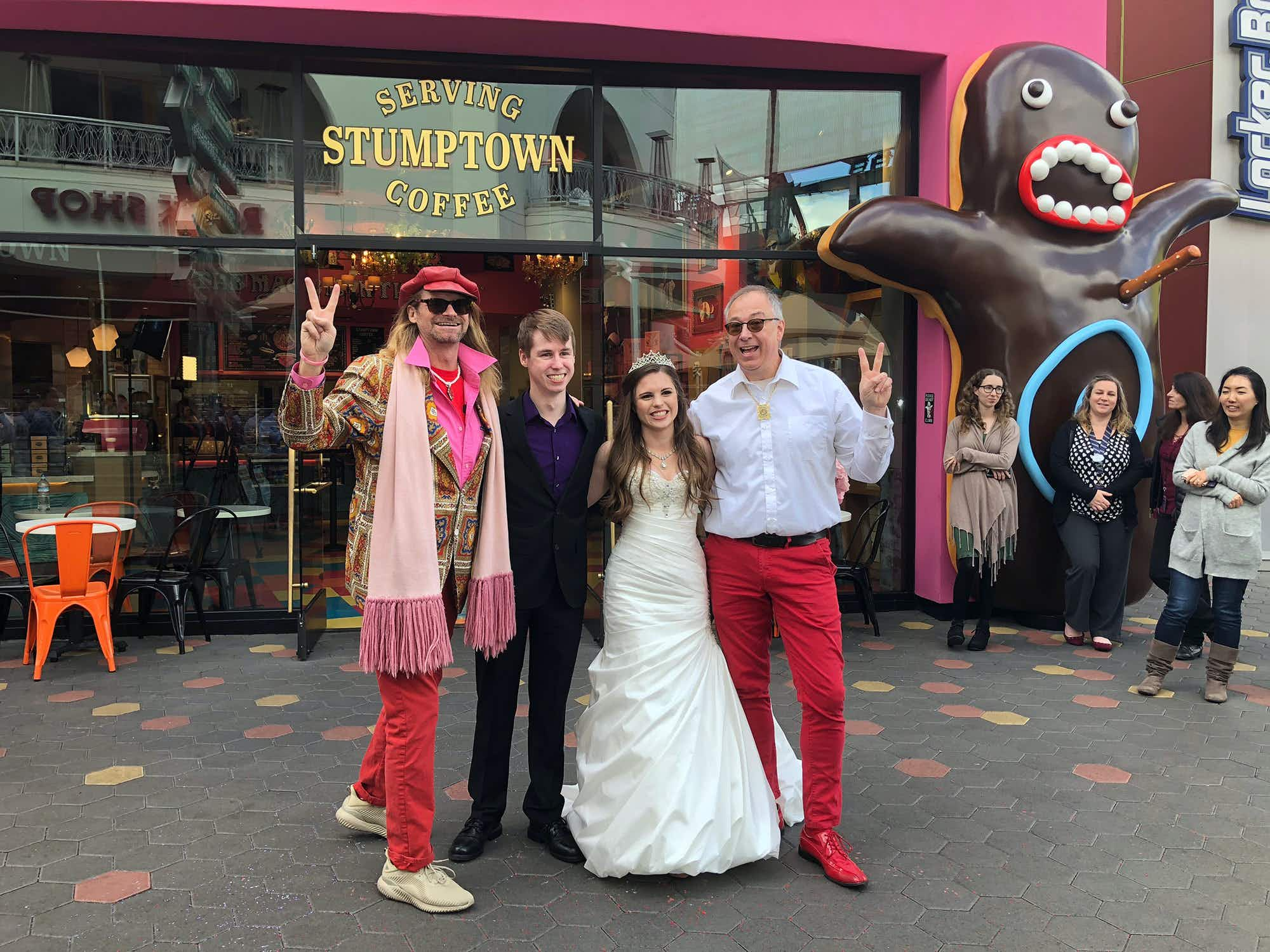 You can get married inside this Universal Studios all-pink doughnut shop