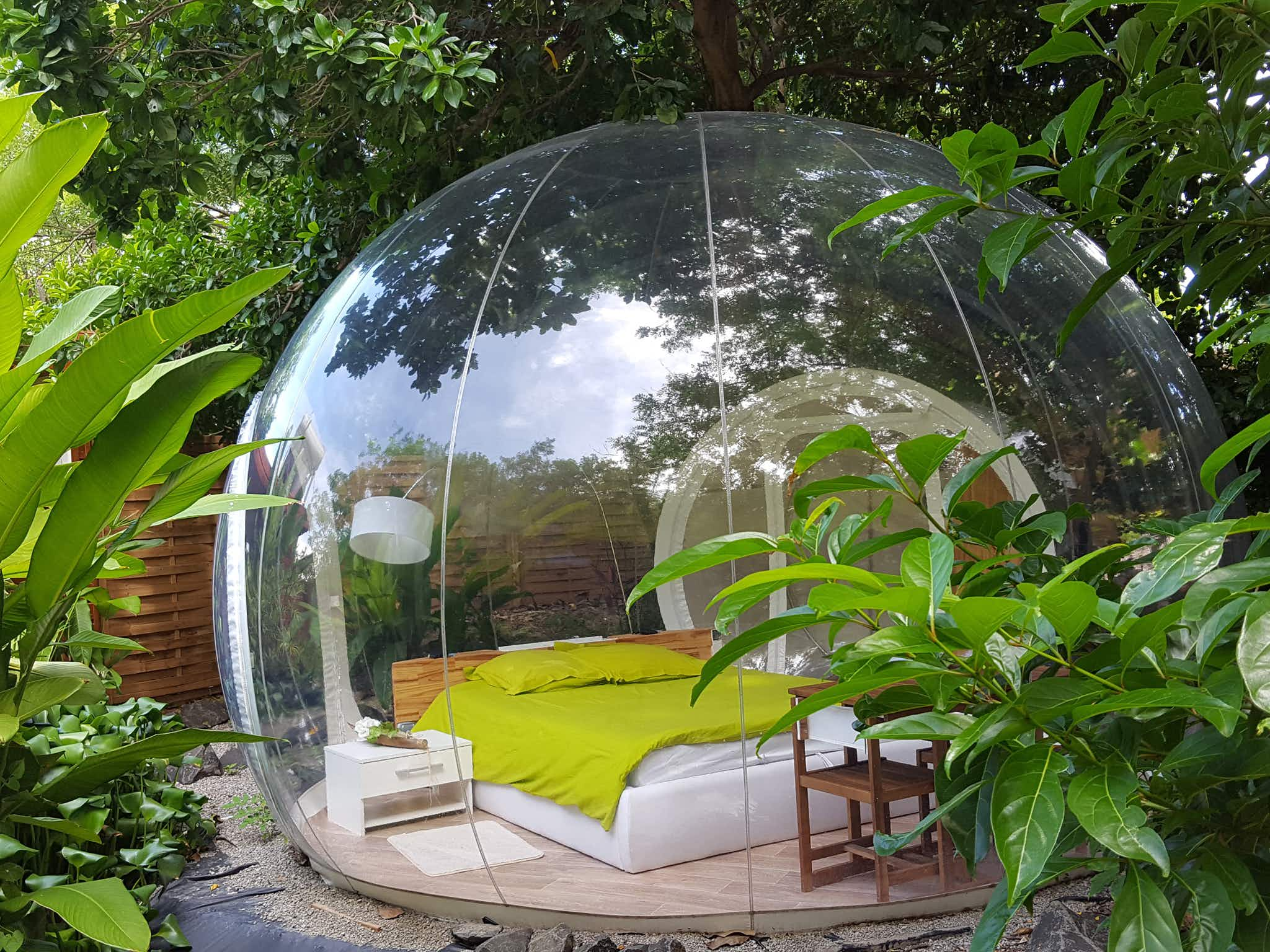 Stay in transparent bubbles on a lush Caribbean island