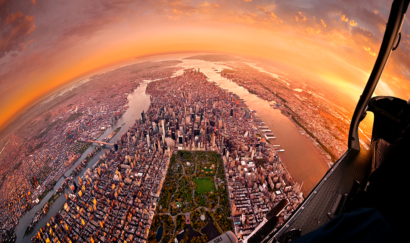 Incredible images taken from helicopters capture city life around the world