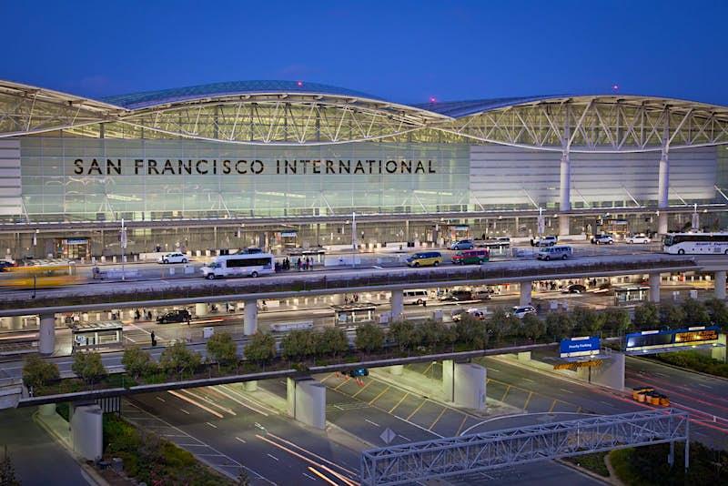 San Francisco International Airport at dusk.