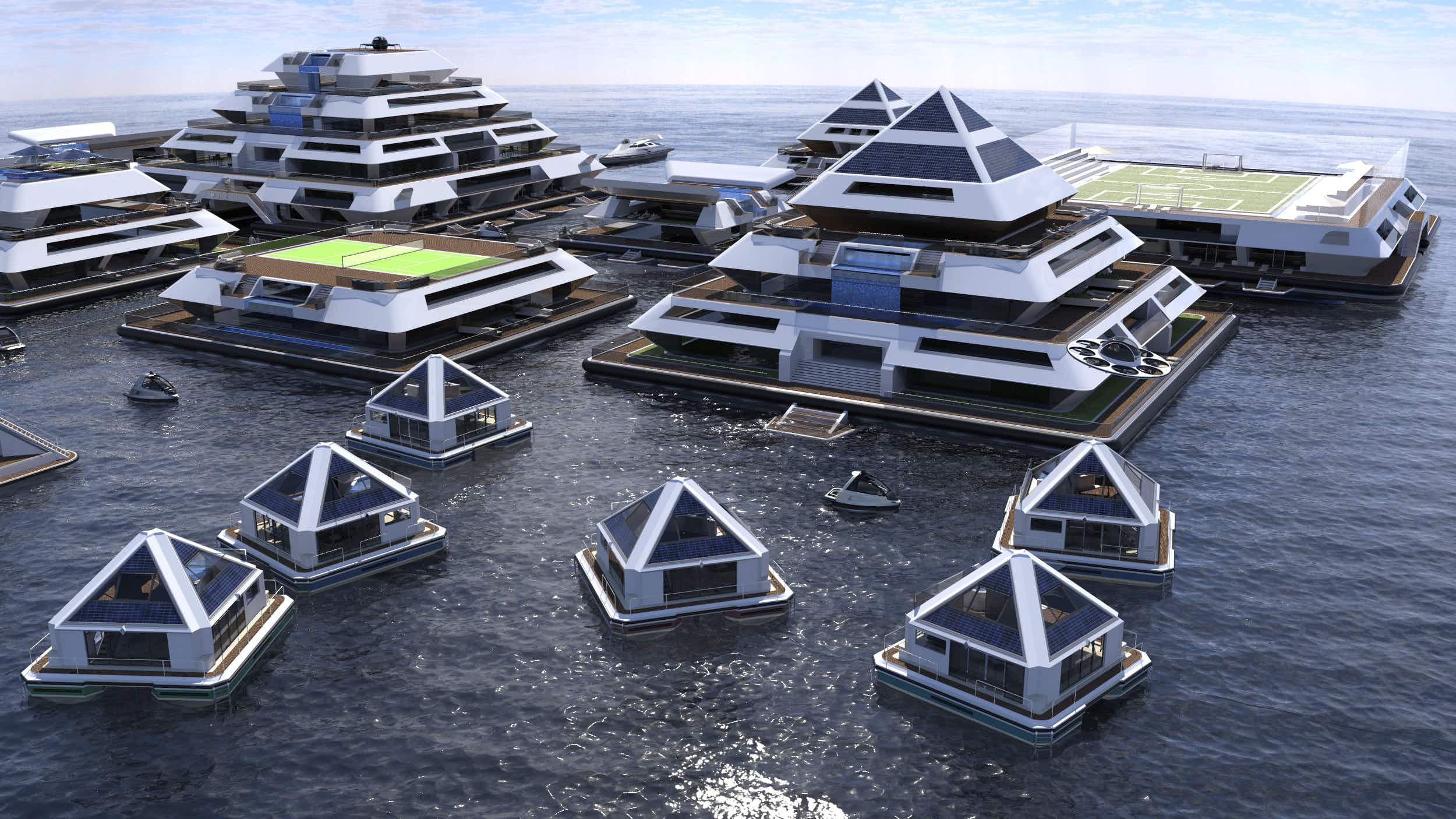 Would you stay in a floating city of futuristic pyramids?