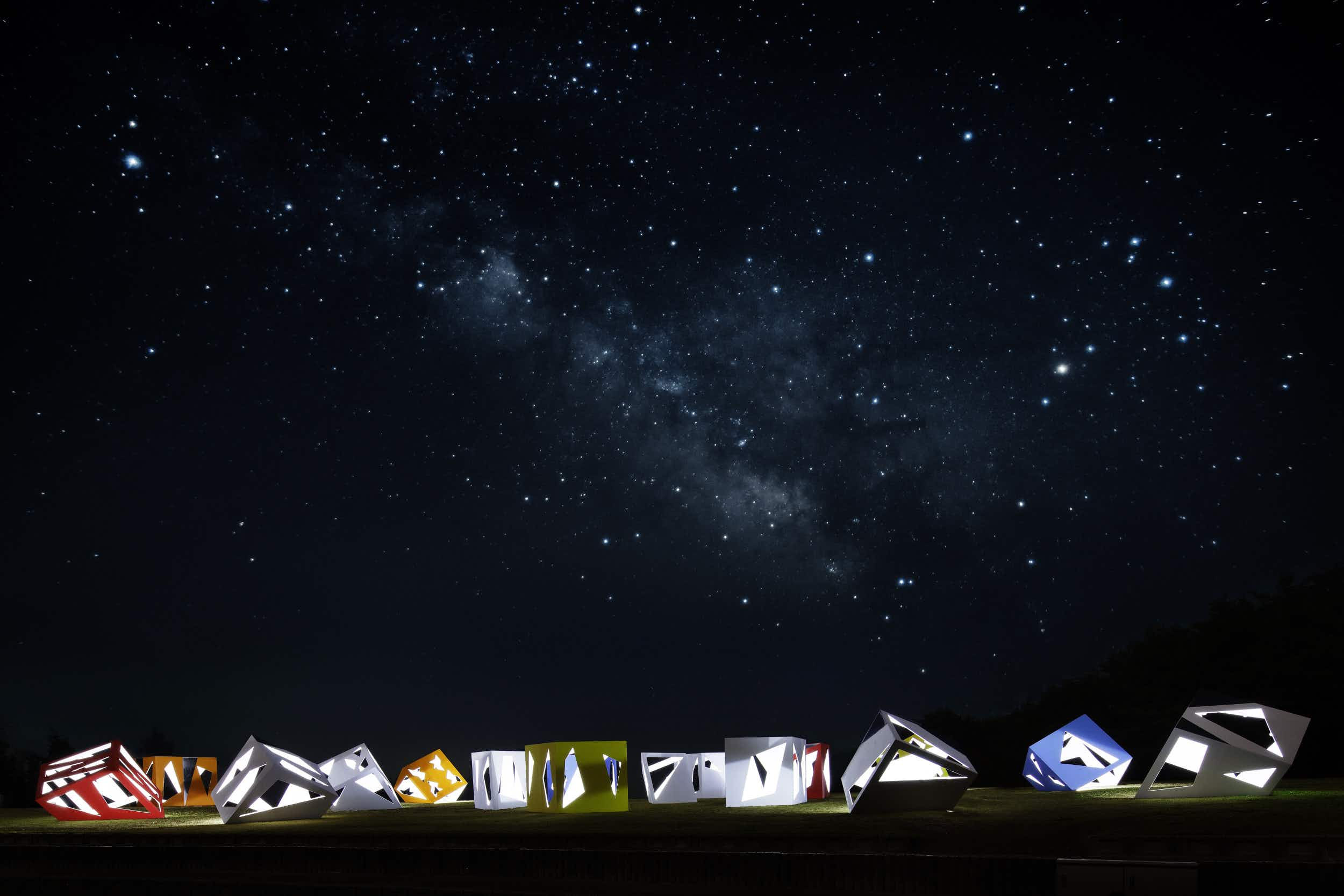 Stargaze from a cluster of colourful tea rooms amidst the rolling hills of Bisei in Japan
