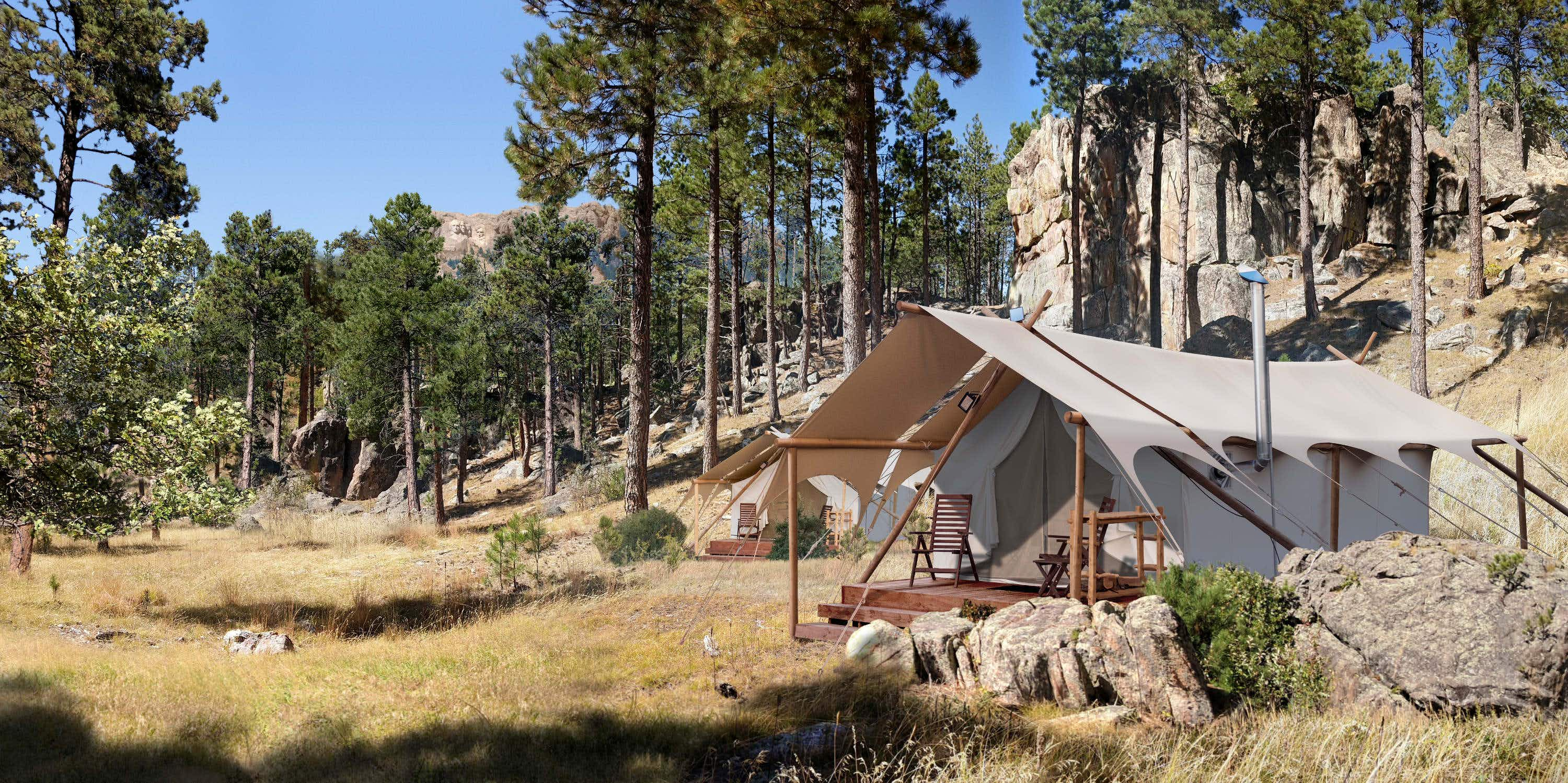 Spend the night in a luxury tent at Mount Rushmore