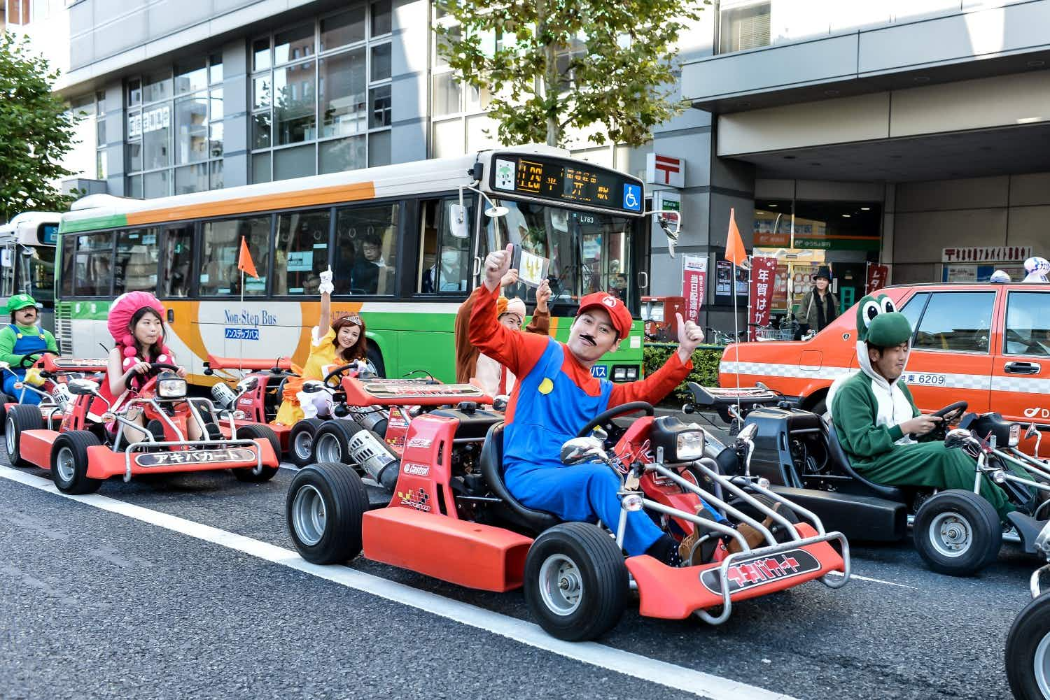 Tour a Japanese city in a go-kart dressed as a Super Mario character