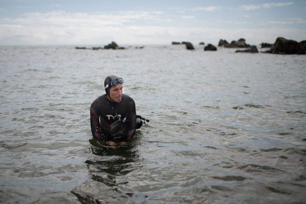 This man is swimming across the Pacific Ocean from Japan to San Francisco