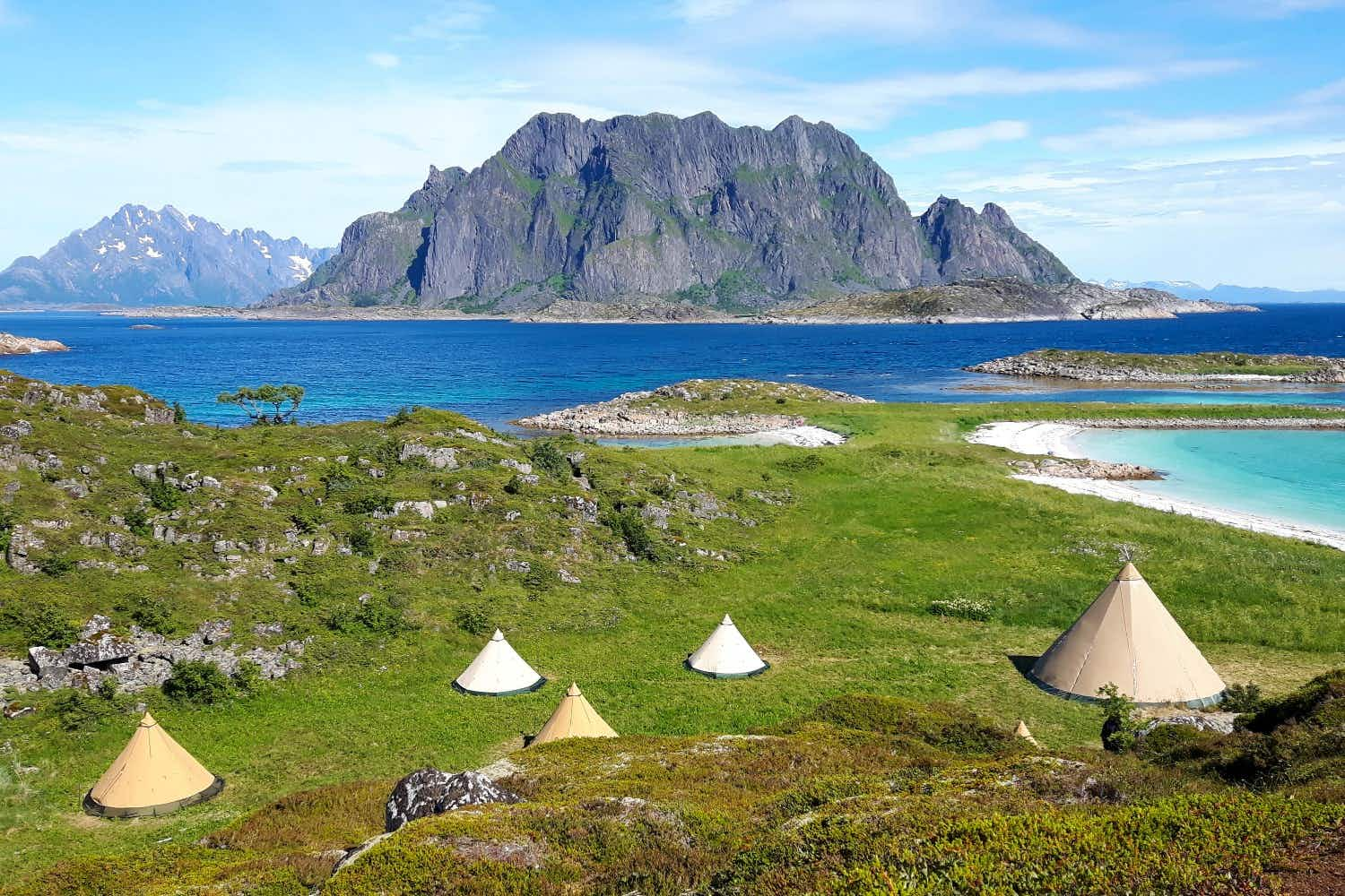 You can glamp in a teepee on the Lofoten Islands in northern Norway