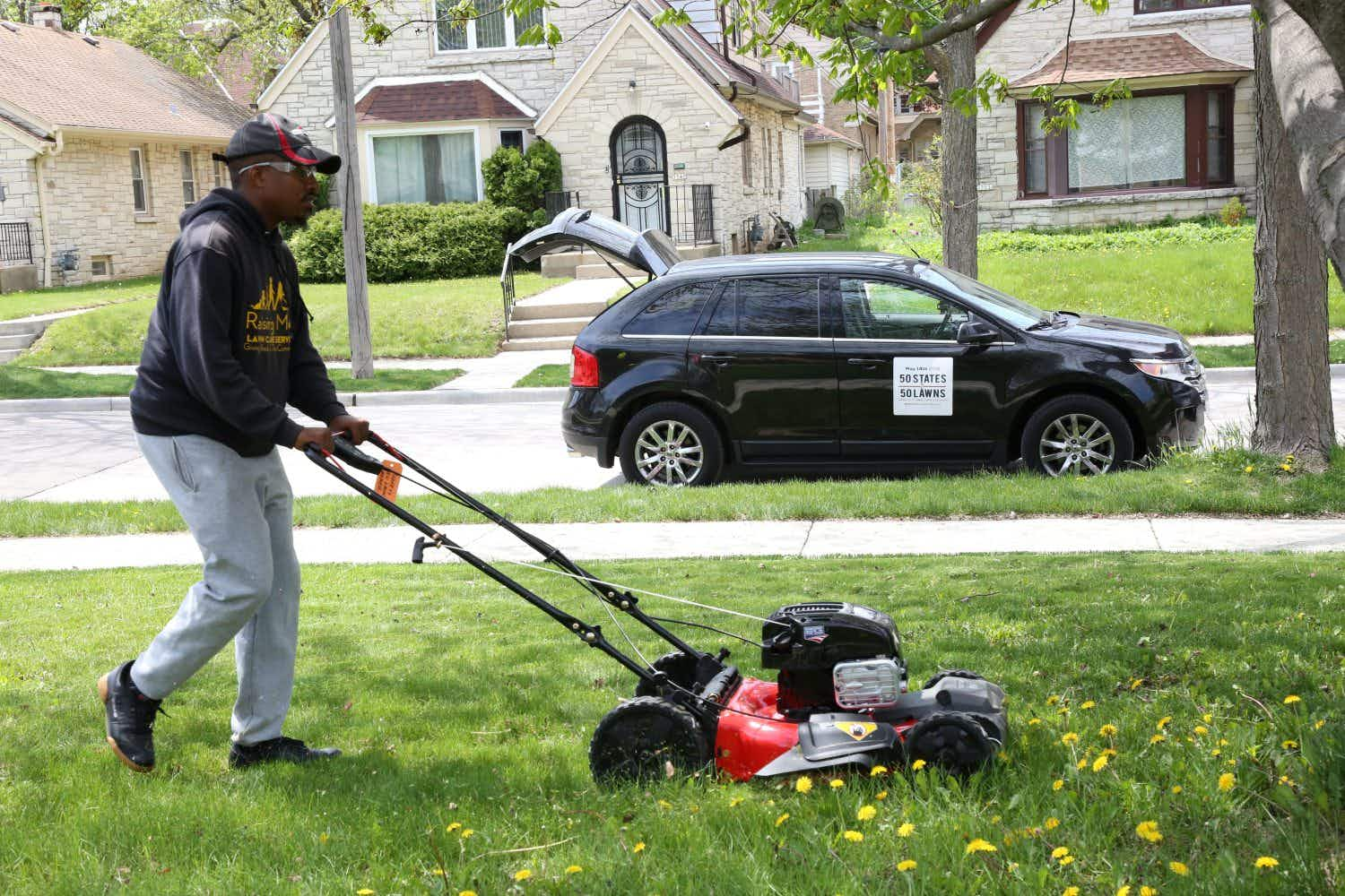 This man is travelling every state in the US mowing lawns for the elderly