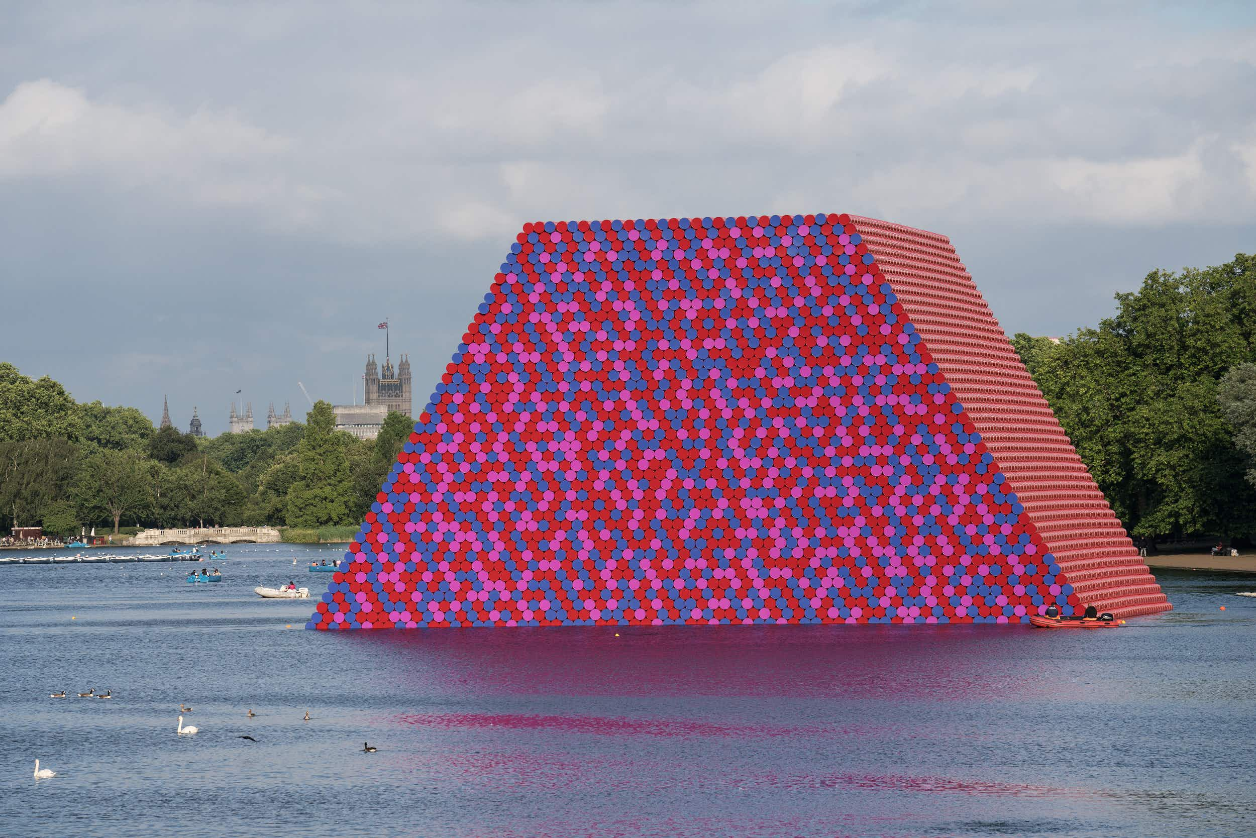 7000 colourful barrels floating on a London lake are brightening up Instagram feeds