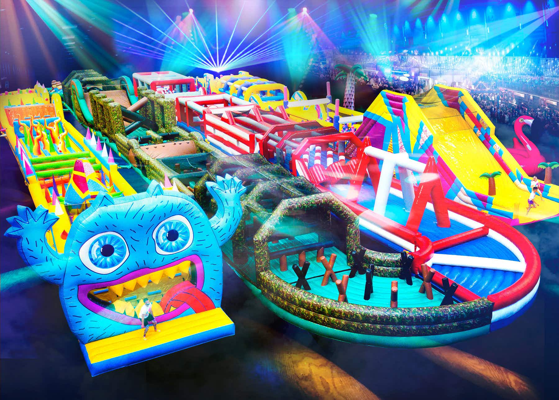 Unleash your inner child on the world's biggest bouncy obstacle course