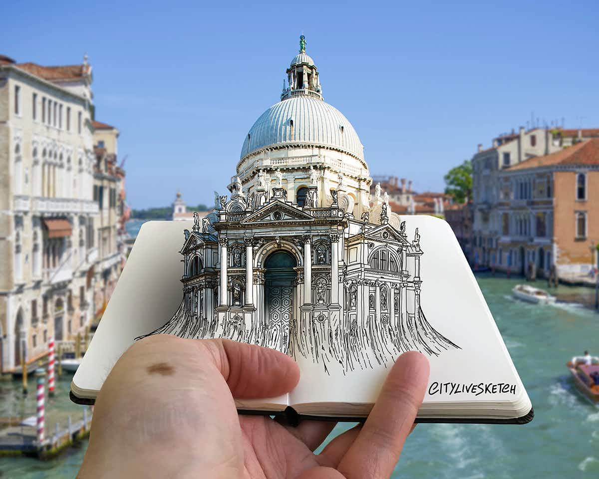 Artist brings famous landmarks to life with amazing sketches