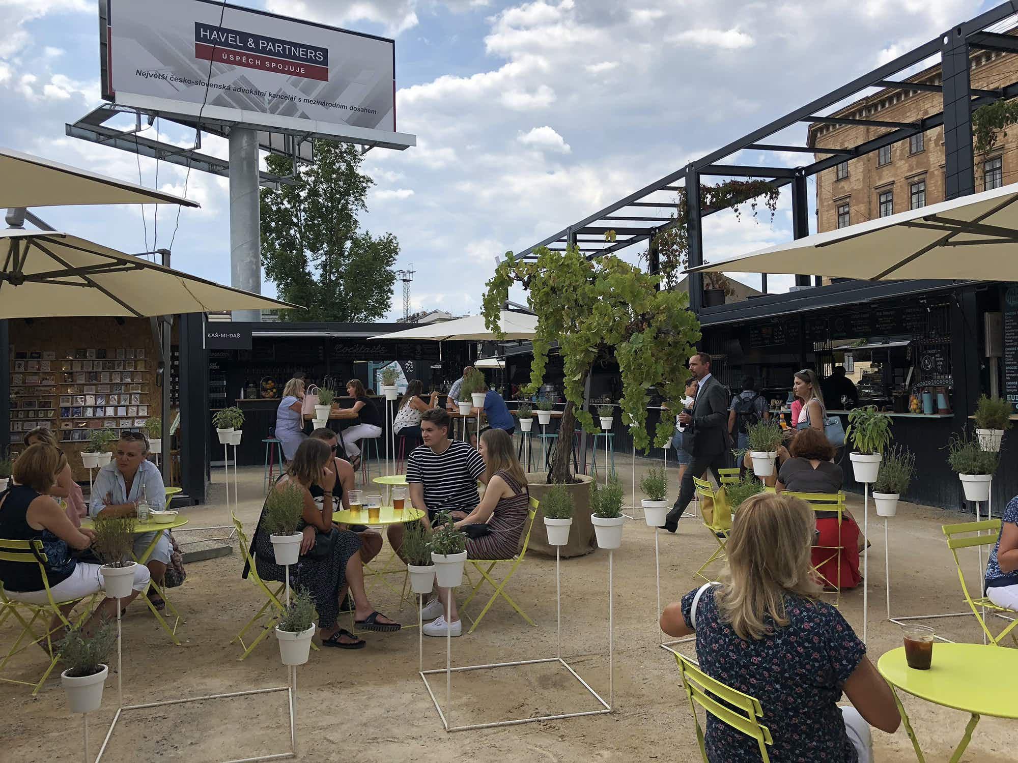 Prague revives a neglected area with a pop-up market made from shipping containers