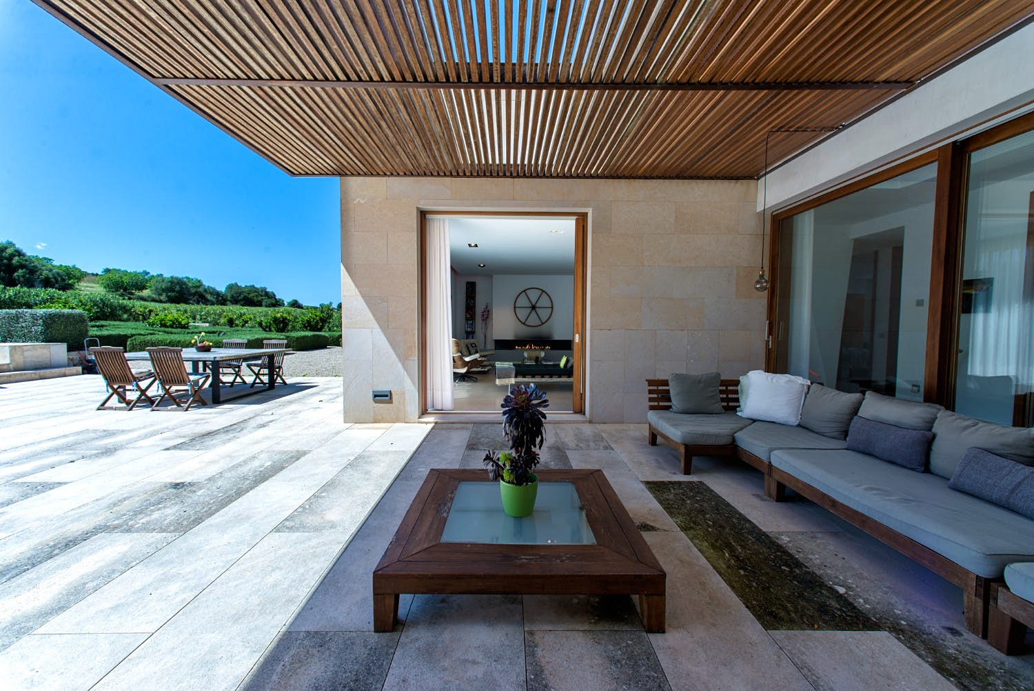 The seating area at Love Island's Casa Amor in Mallorca