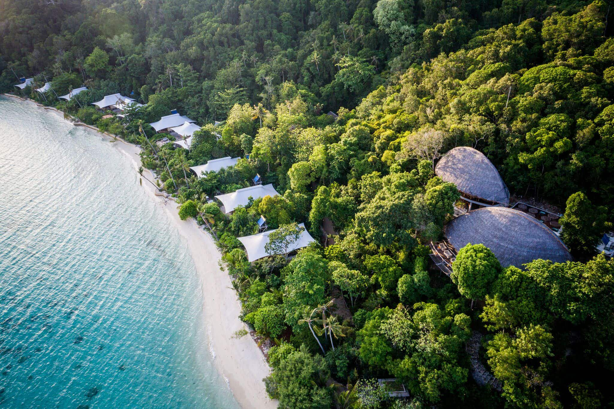 Hop on an amphibious seaplane to travel to this private Indonesian island retreat