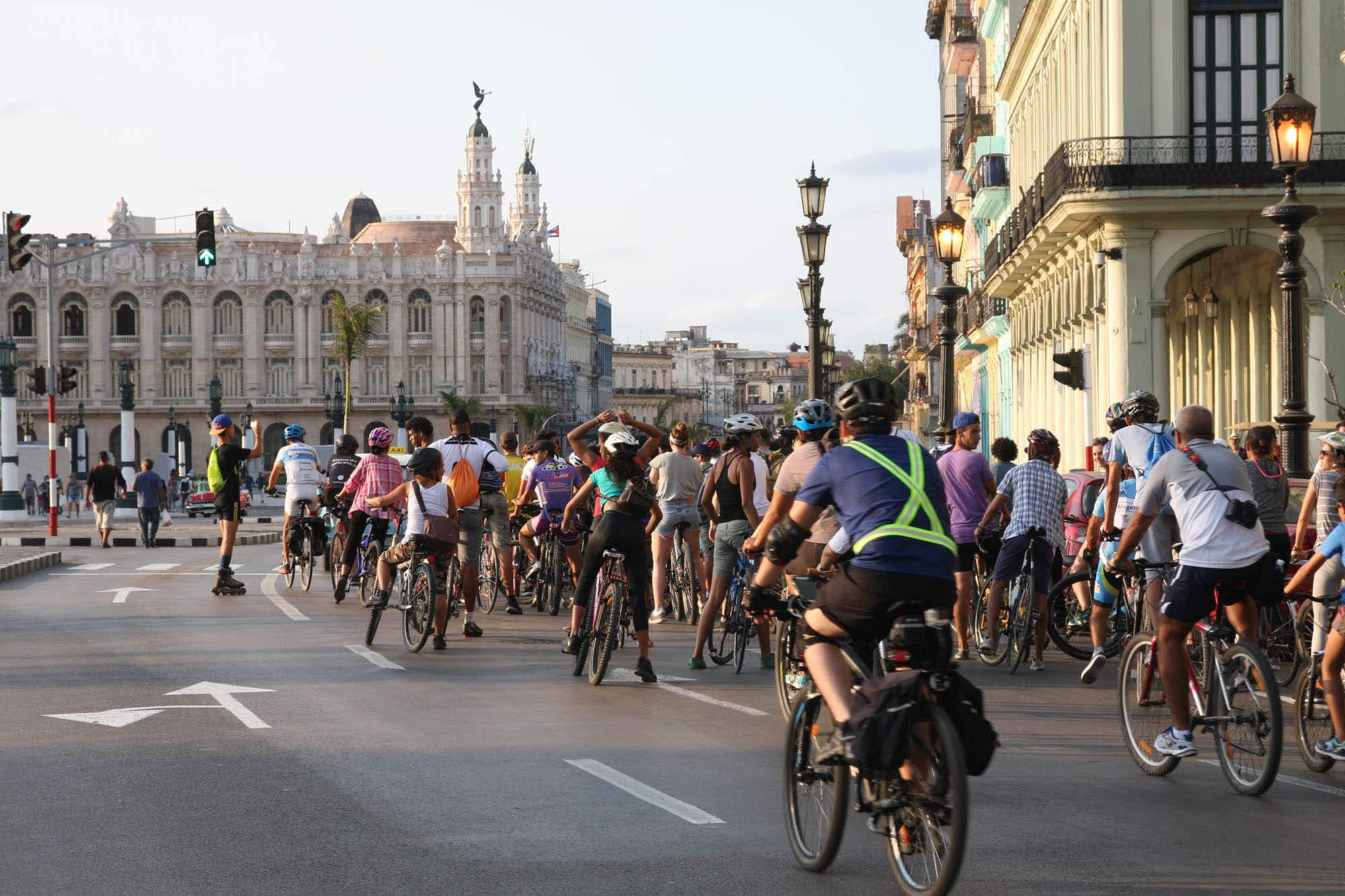 You can join a group of cyclists as they ride around Havana