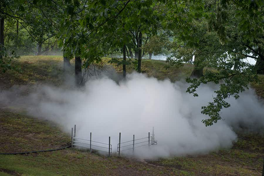 Wander through these incredible fog sculptures in Boston