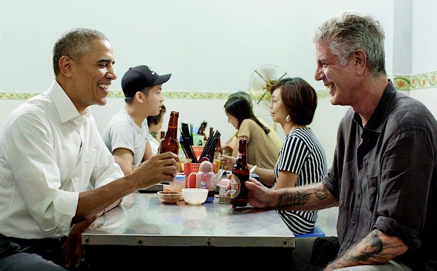 Barack Obama and Anthony Bourdain enjoy a beer in Vietnam.