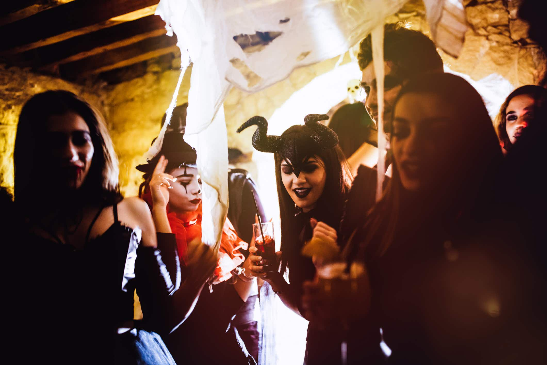 Join 1000 revellers as they celebrate Halloween in the shadow of Dracula's castle