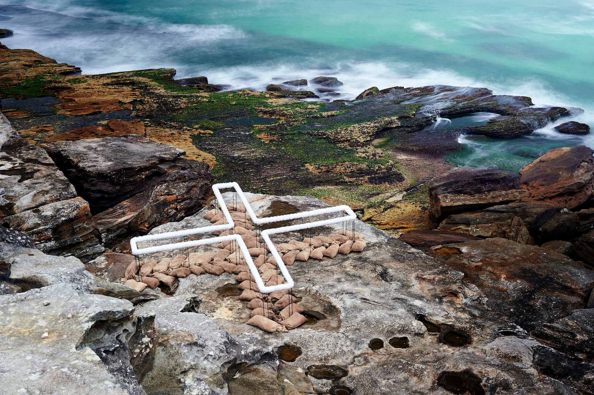 """Wendy Teakel's piece """"Land Place Site"""" is next to the sea in Australia. Image by Noel Mc"""