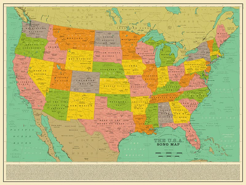 Full Map Of Usa.A New Map Of The Us Is Made Up Entirely Of Song Titles Lonely Planet