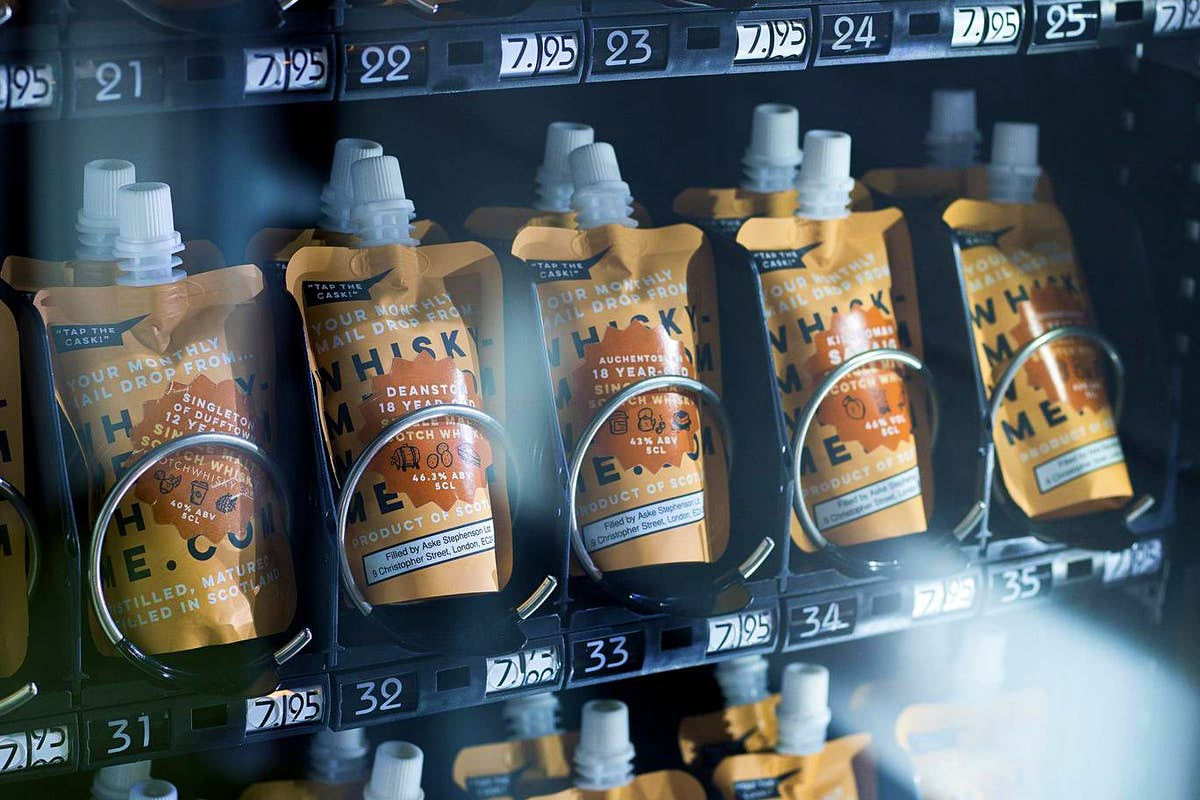 A whisky vending machine is serving up pouches of booze in London