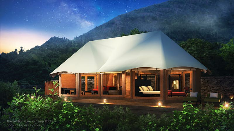 You can take a paddle boat to these new tented villas in the Himalayas