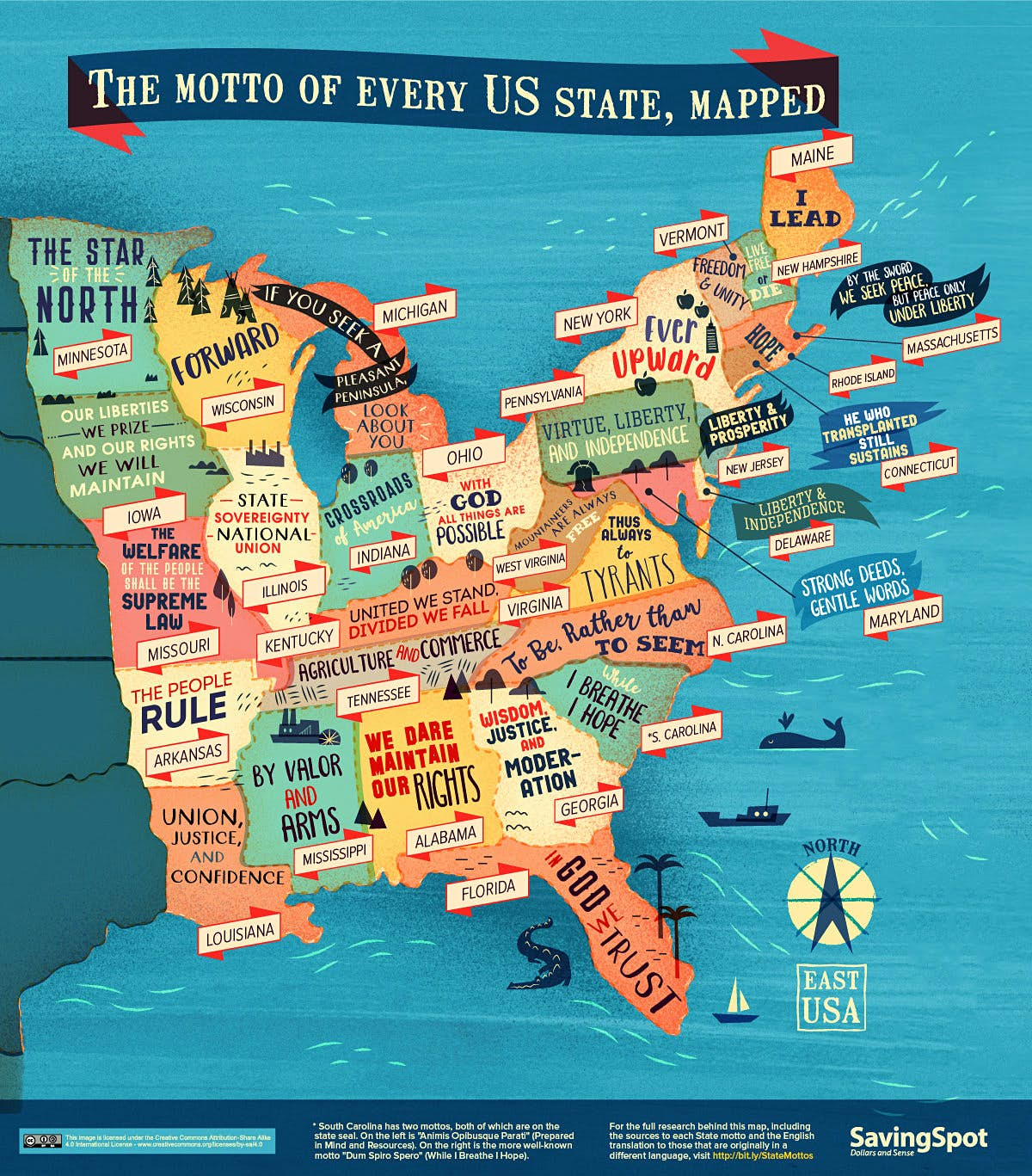 A cool new map features every American state motto - Lonely ...