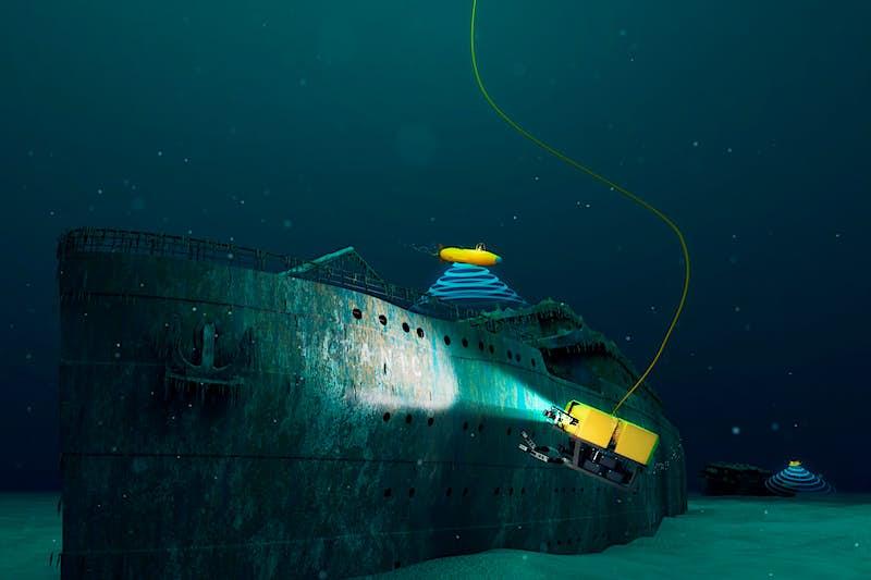 Autonomous Underwater Vehicles explore the wreck of the Titanic