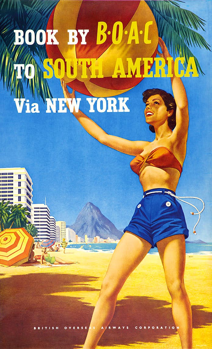 During the 1950s BOAC maintained its painted posters including some of its best from artists such as Abram Games. It also commissioned several series type posters by the artist Aldo  Cosomati who used a cartoon type caricature of people from various countries. Each with a dark blue background they were certainly eye-catching and different from much of what had gone before.