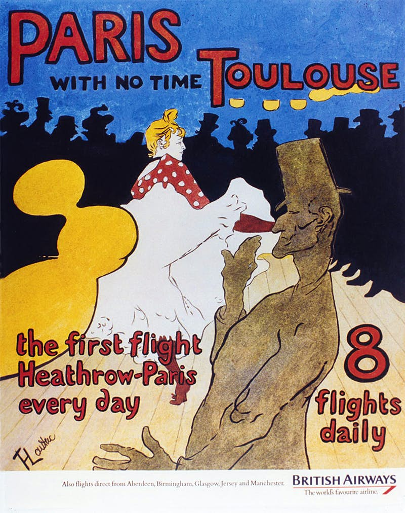 This poster is based on French artist Henri de Toulouse-Lautrec's 1891 poster Moulin Rouge: La Goulue. It advertises the London-Paris route, the very first route that BritishAirways predecessor, Aircraft Transport & Travel, operated in August 1919. Image: Saatchi and Saatchi