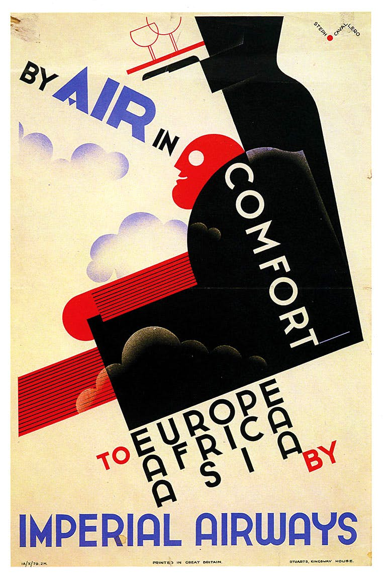 By the mid-1930s  Imperial Airways were producing some of the most cutting edge modernist posters. Using artists such as Ben Nicholson and Edward McKnight Kauffer, they put Imperial to the forefront of the innovative poster advertising at this time.