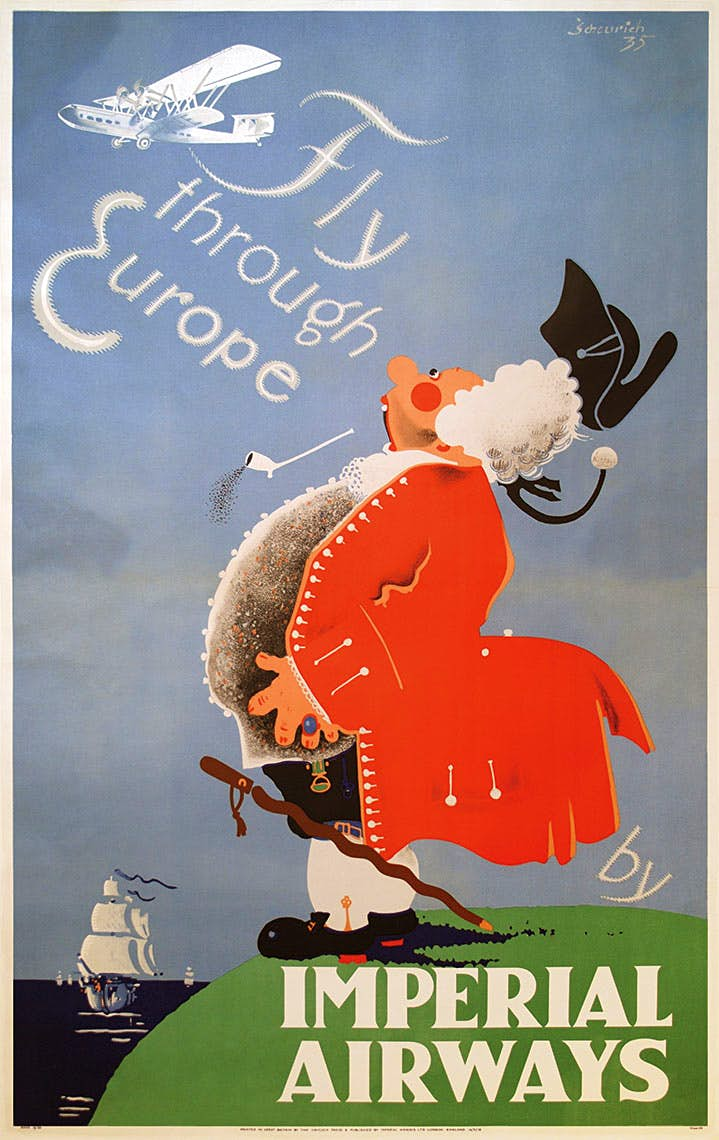 Several European artists were commissioned to design posters for Imperial Airways. They are unusual in that the advertising message appears rather subliminal.