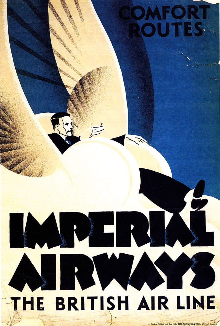 In 1926 Imperial had introduced the 'Argosy', the first of its multi-engine crafts and designed as a civil airliner and not a converted First World War bomber as many early passenger aircraft were. Its large cabin was spacious and comfortable and'Comfort in the Air' was a recurring advertising theme throughout Imperial's years of operation. Prospective passengers had to be reassured that flying was safe but also comfortable and to a standard comparable to the railways and shipping companies.