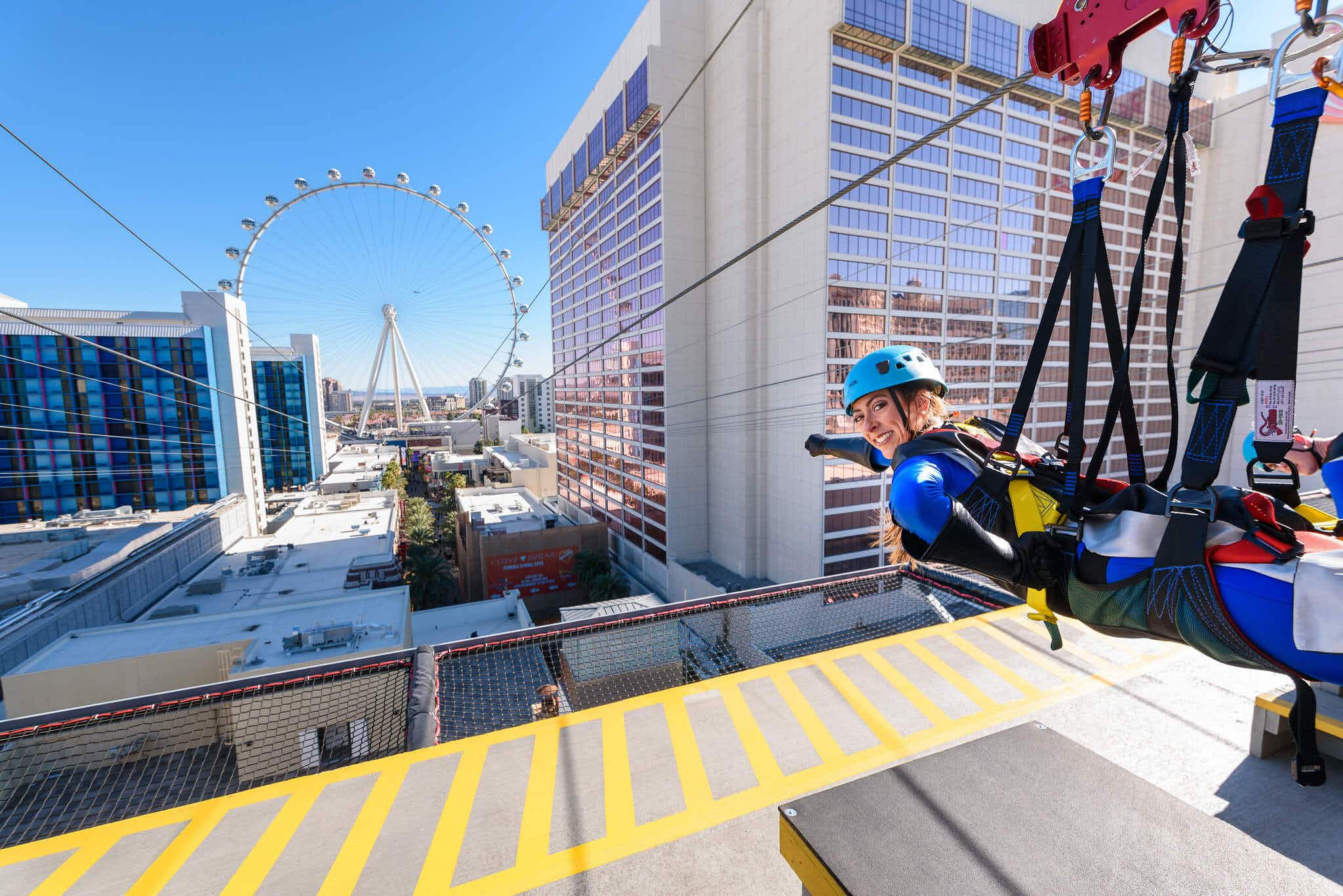 Soar above the Las Vegas strip like a superhero with its first zip line